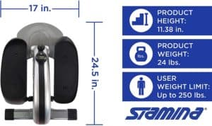 Stamina InMotion E1000 Compact Strider - measurements